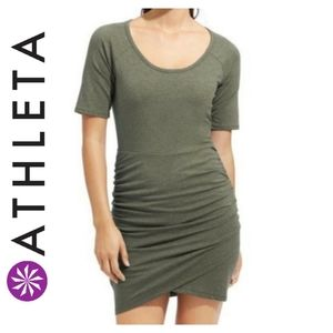 Athleta Seeker Tee Ruched Tulip Dress Green XXS
